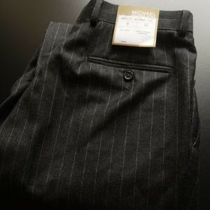 NWT MICHAEL KORS PLEATED FRONT STRIPE DRESS PANTS